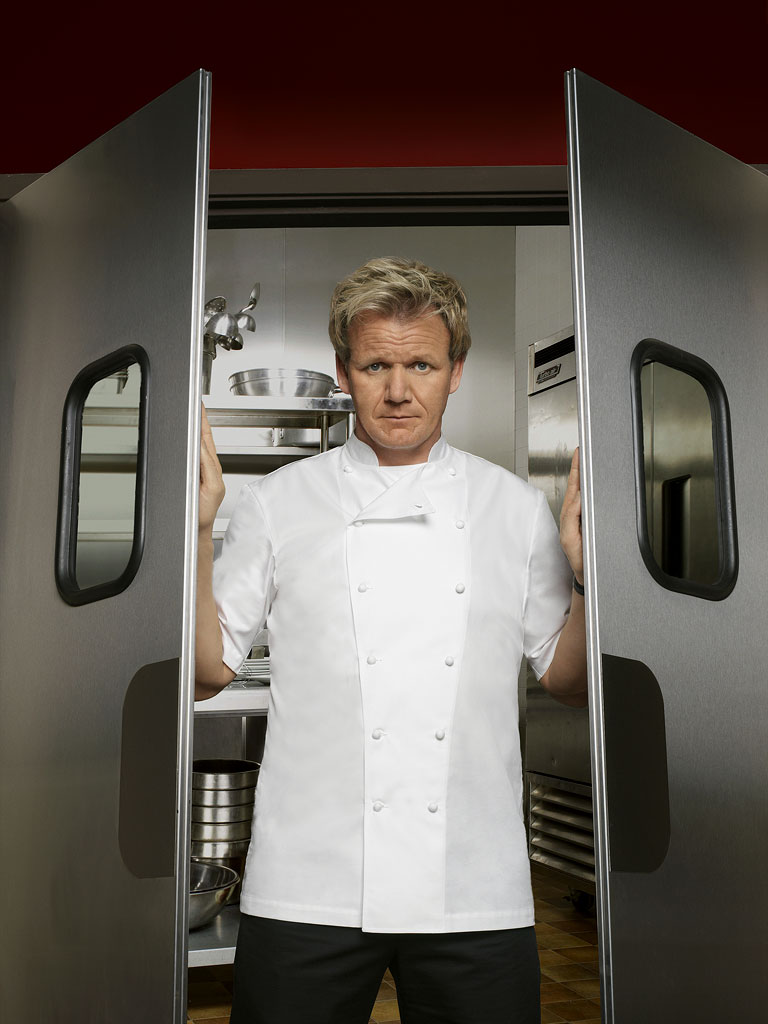 "Chef Gordon Ramsay hits the road tackling resturants in crisis and exposing the stressful realities of trying to run a successful food business in ""Kitchen Nightmares."""