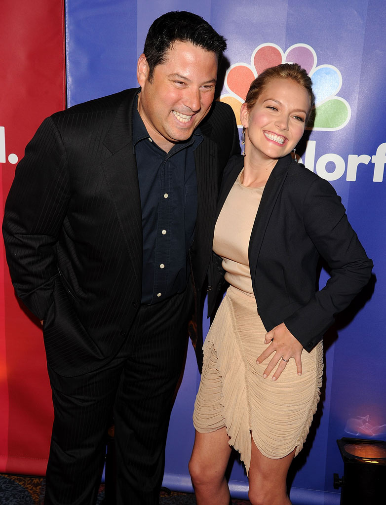 Greg Grunberg and Becki Newton attend the 2010 NBC Upfront presentation at The Hilton Hotel on May 17, 2010 in New York City.