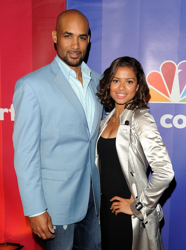 Boris Kodjoe and Gugu Mbatha-Raw attend the 2010 NBC Upfront presentation at The Hilton Hotel on May 17, 2010 in New York City.