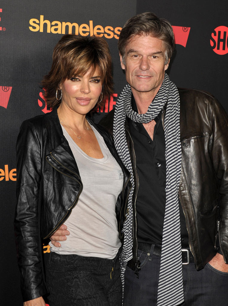 "Lisa Rinna and Harry Hamlin attend the ""Shameless"" Season 2 Reception at Haus Los Angeles on January 5, 2012 in Los Angeles, California."