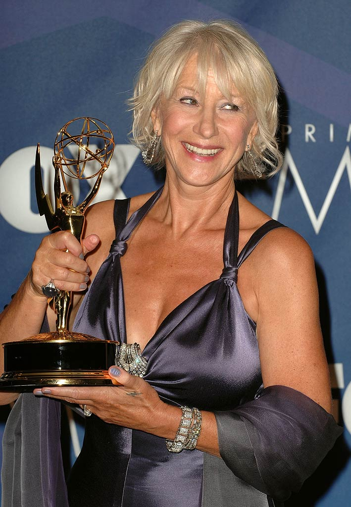 Helen Mirren poses in the press room at the 59th Annual Primetime Emmy Awards at the Shrine Auditorium on September 16, 2007 in Los Angeles, California.
