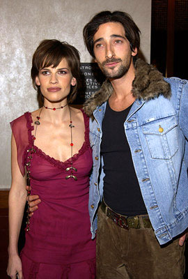 Premiere: Hilary Swank and Adrien Brody at the New York screening of The Affair of the Necklace - 11/27/2001