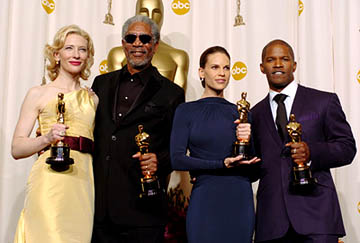 Cate Blanchett, Morgan Freeman, Hilary Swank and Jamie Foxx Best Supporting Actress & Actor, Best Actress & Actor 77th Annual Academy Awards - Press Room Hollywood, CA - 2/27/05