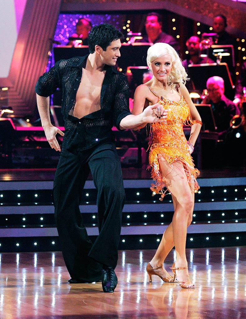 "Holly Madison and Dmitry Chaplin perform the Cha-cha to ""Just Dance"" by Lady GaGa on ""Dancing with the Stars."""