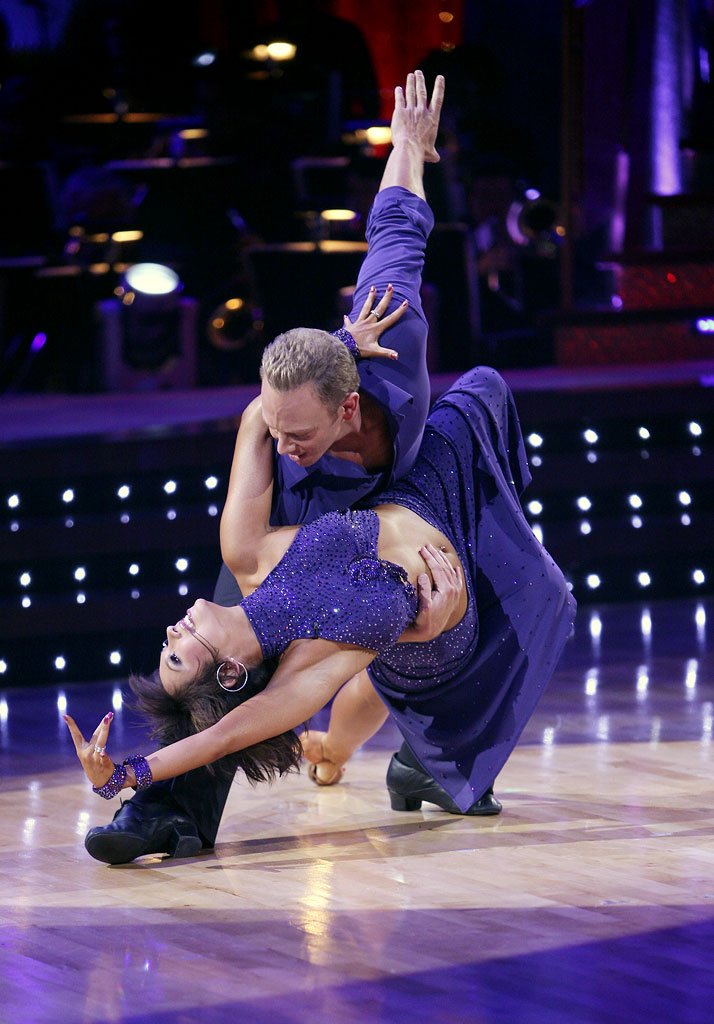 Professional dancer, Cheryl Burke and Ian Ziering perform a Latin dance in the 4th season of Dancing with the Stars.