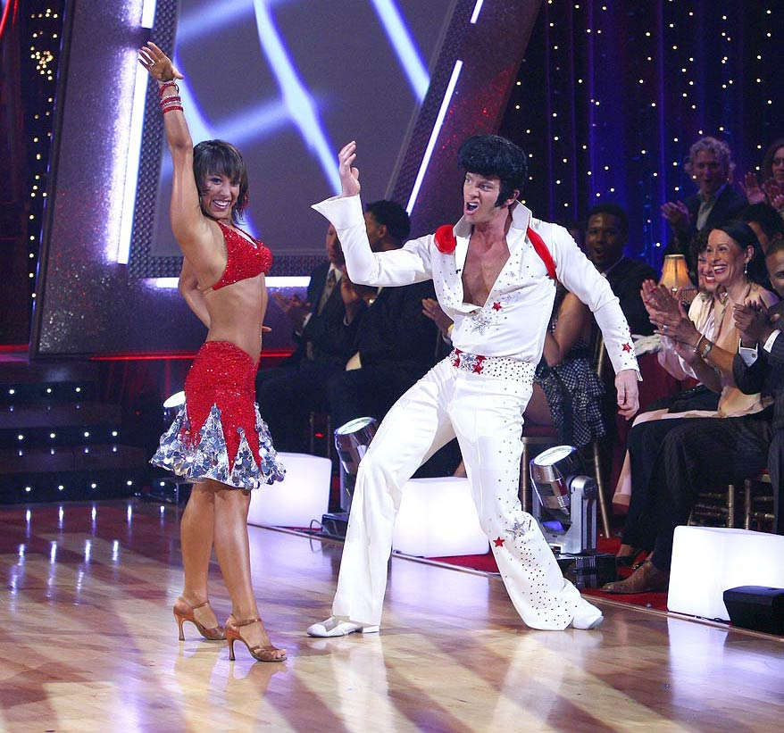 Professional dancer, Cheryl Burke and Ian Ziering dance the jive in the 4th season of Dancing with the Stars.