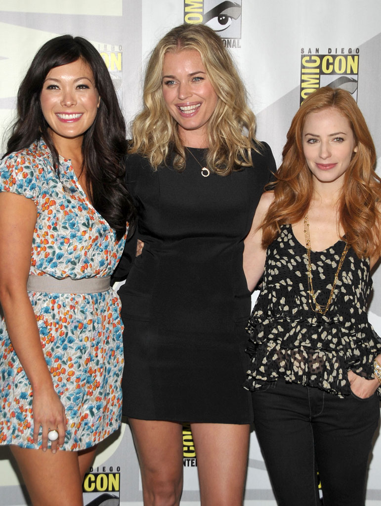 "Lindsay Price, Rebecca Romijn and Jamie Ray Newman attend the ""Eastwick""†pilot screening at Comic-Con 2009 held at San Diego Convention Center on July 25, 2009 in San Diego, California."