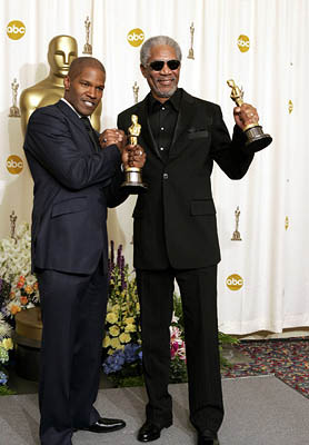 Jamie Foxx with Morgan Freeman Best Actor - Ray Best Supporting Actor - Million Dollar Baby 77th Annual Academy Awards - Press Room Hollywood, CA - 2/27/05
