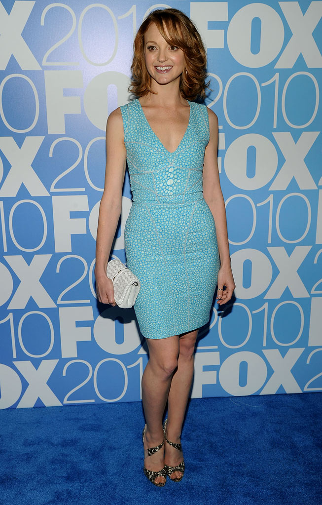 "Jayma Mays (""Glee"") attends the 2010 Fox Upfront after party at Wollman Rink, Central Park on May 17, 2010 in New York City."