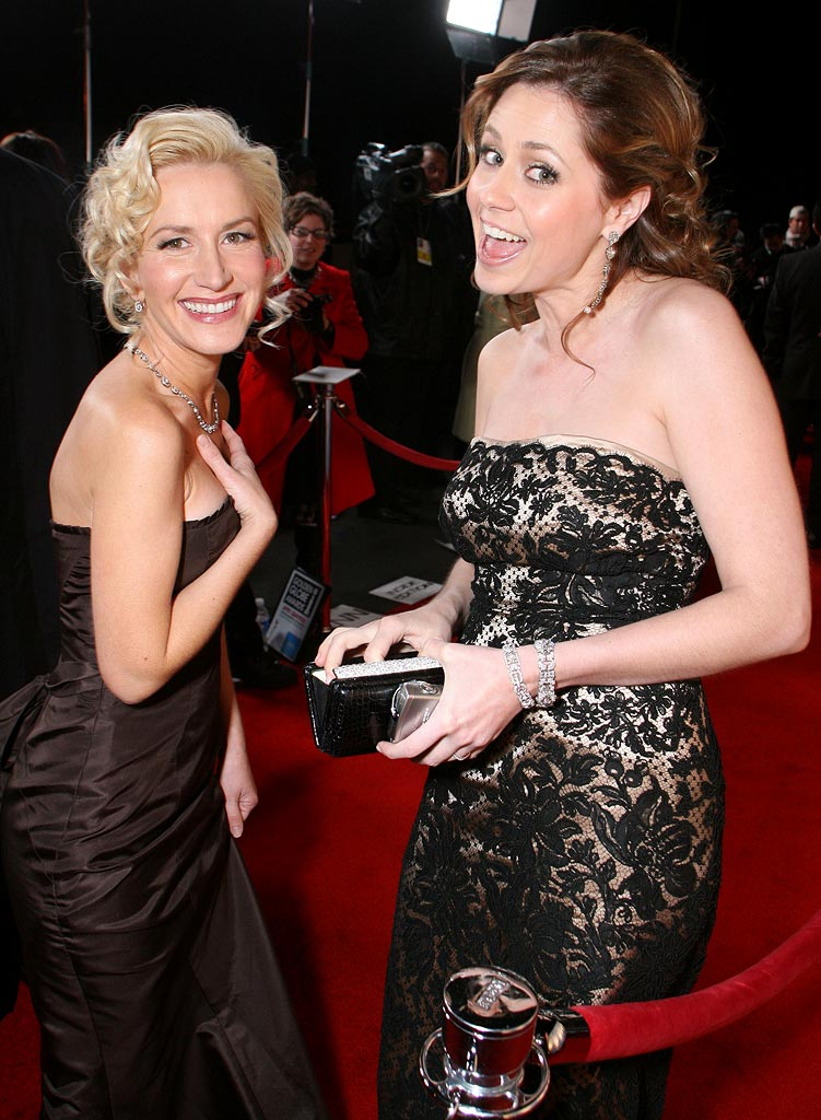 Angela Kinsey and Jenna Fischer at the Focus Features Golden Globes After Party.