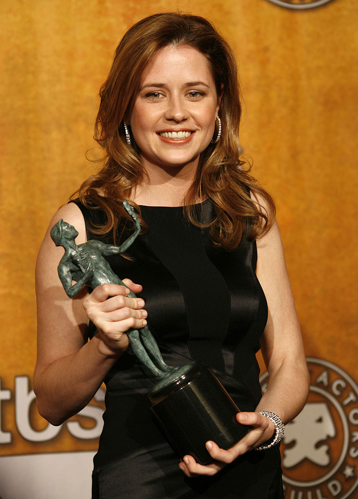 "Jenna Fischer of ""The Office"", winner Outstanding Performance by an Ensemble in a Comedy Series at the 13th Annual Screen Actors Guild Awards."