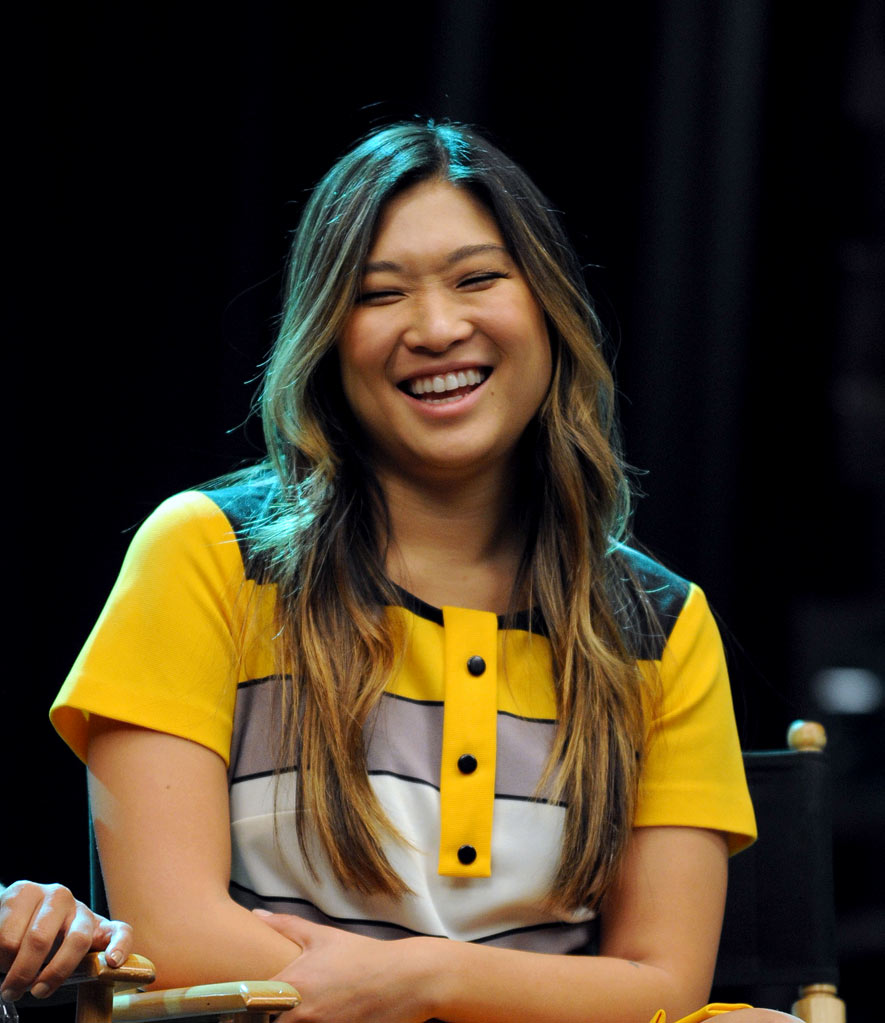 "Jenna Ushkowitz onstage during the Q & A following the 300th musical performance on ""Glee"" at Paramount Studios on October 26, 2011 in Hollywood, California."