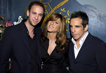 Premiere: John Hamburg, Jennifer Aniston and Ben Stiller at the LA premiere of Universal's Along Came Polly - 1/12/2004