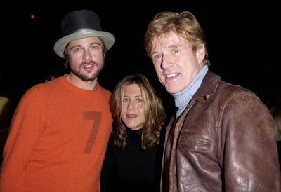 Brad Pitt, Jennifer Aniston and Robert Redford The Good Girl premiere Sundance Film Festival 1/12/2002