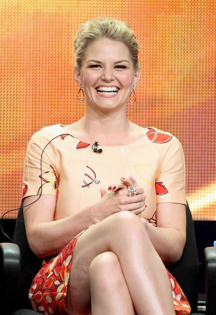 "Jennifer Morrison of the television show ""Once Upon A Time"" speaks during the Disney ABC Television Group portion of the 2011 Summer Television Critics Association Press Tour held at The Beverly Hilton Hotel on August 7, 2011 in Beverly Hills, California."