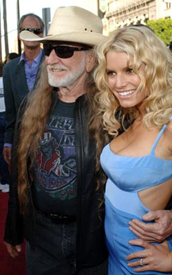 Premiere: Willie Nelson and Jessica Simpson at the Hollywood premiere of Warner Bros. Pictures' The Dukes of Hazzard - 7/28/2005