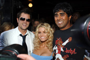 Premiere: Johnny Knoxville, Jessica Simpson and director Jay Chandrasekhar at the Hollywood premiere of Warner Bros. Pictures' The Dukes of Hazzard - 7/28/2005
