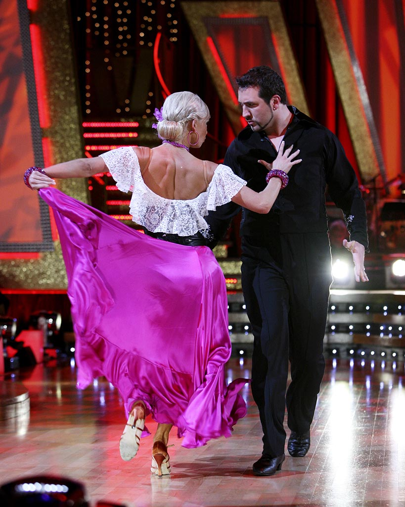 Professional dancer, Kim Johnson and Joey Fatone perform their fourth dance in the 4th season of Dancing with the Stars.