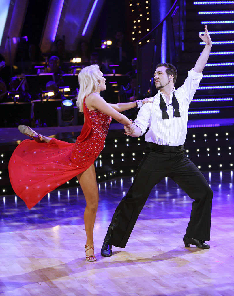 Professional dancer, Kim Johnson and Joey Fatone perform their fifth dance in the 4th season of Dancing with the Stars.