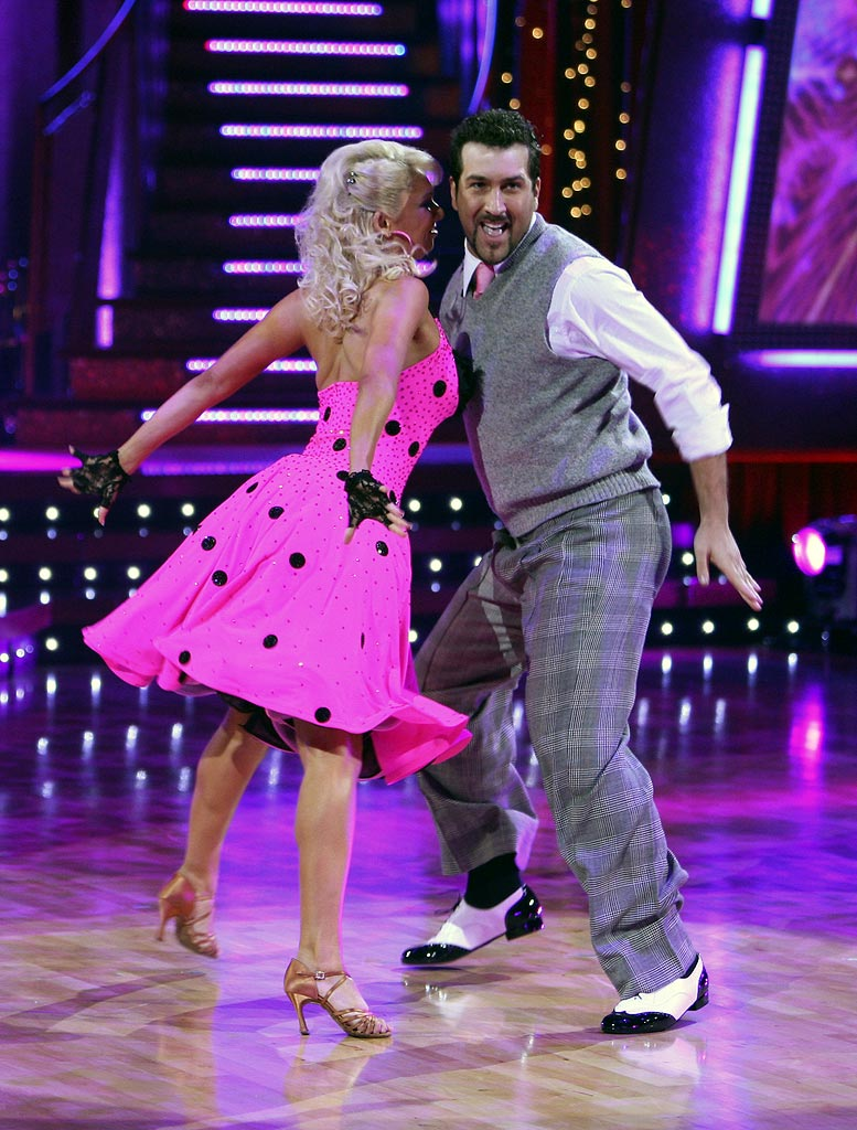 Professional dancer, Kim Johnson and Joey Fatone perform a Latin dance in the 4th season of Dancing with the Stars.
