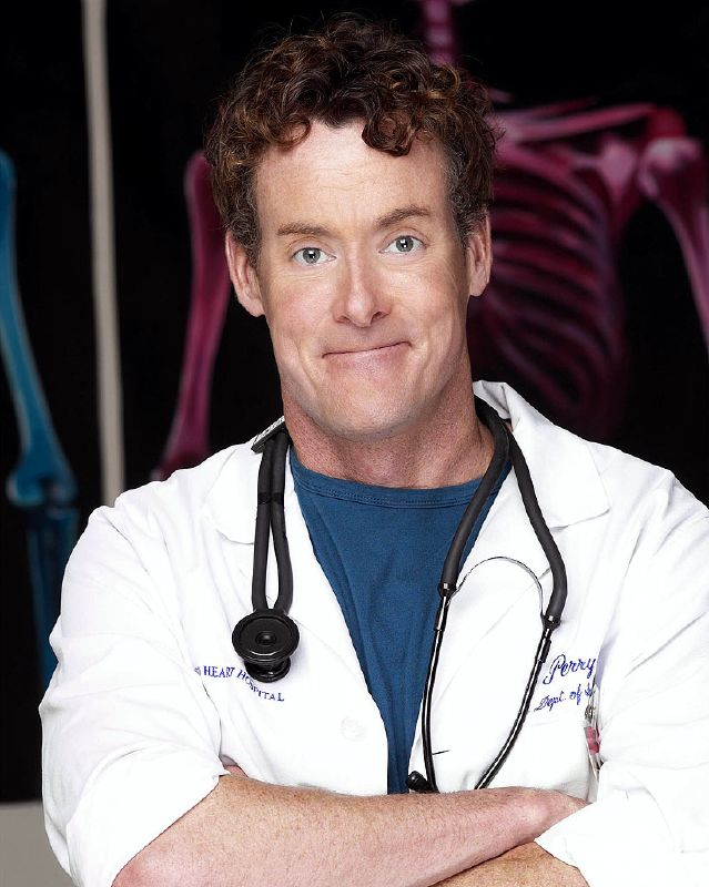 John C McGinley as Dr. Perry Cox on NBC's Scrubs.