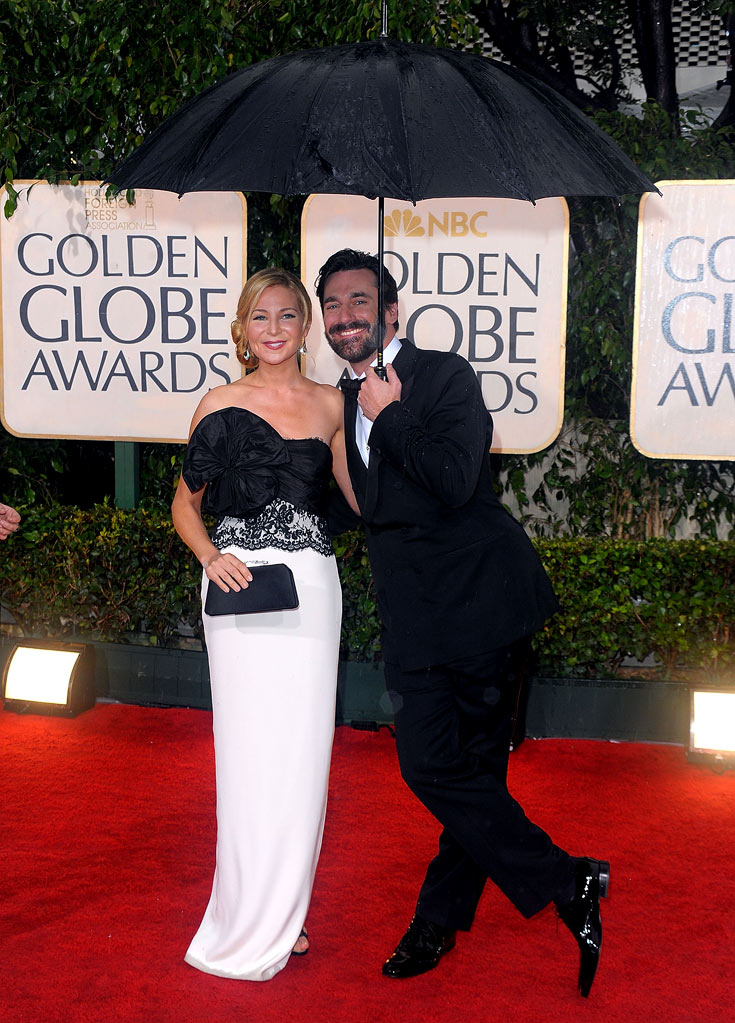 Jennifer Westfeldt and Jon Hamm arrive at the 67th Annual Golden Globe Awards held at The Beverly Hilton Hotel on January 17, 2010 in Beverly Hills, California.