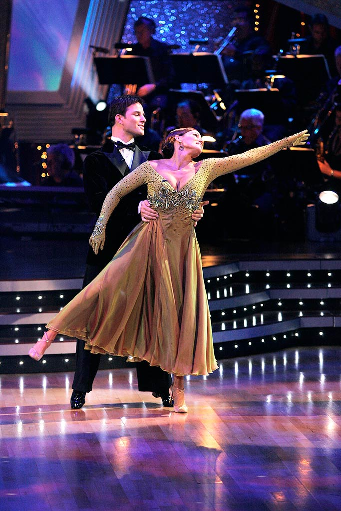 "Belinda Carlisle and Jonathan Roberts perform the Waltz to ""What the World Needs Now"" by Dionne Warwick on ""Dancing with the Stars."""