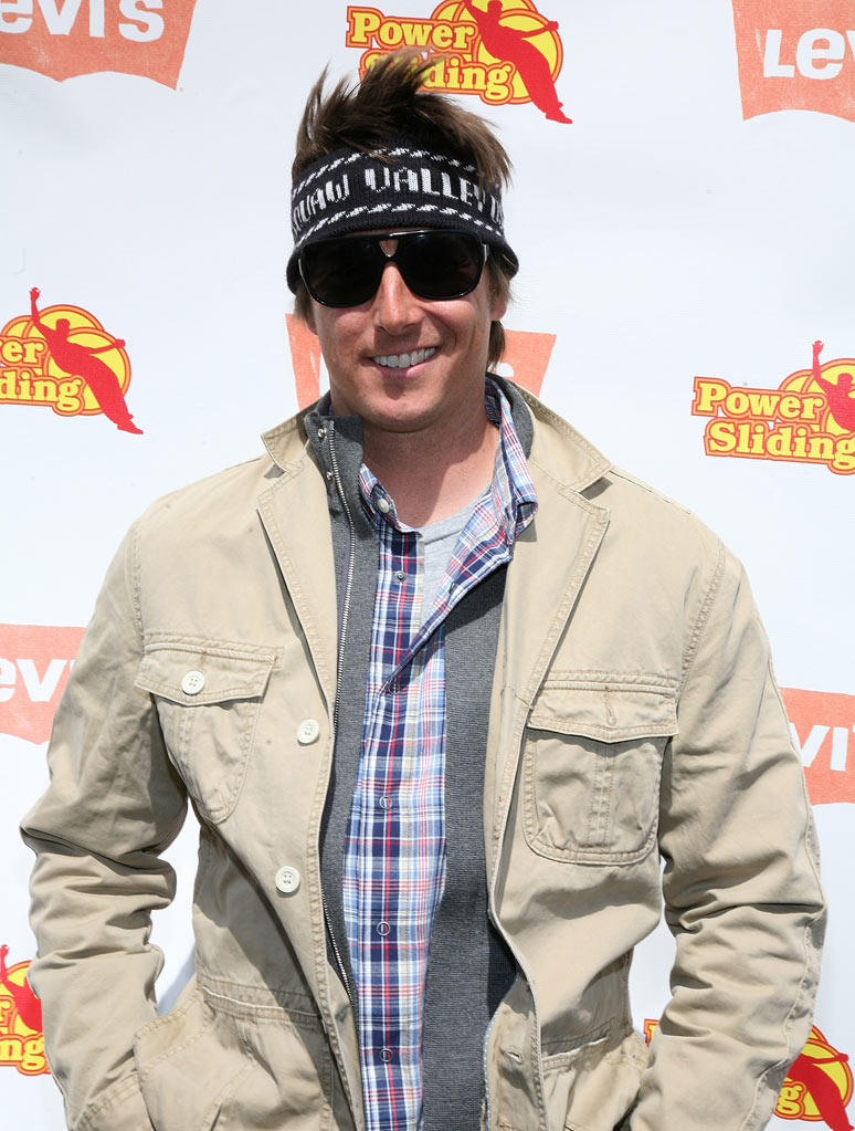 Pro skier Jonny Moseley arrives at Levi's 3rd annual Powersliding Championships on April 15, 2009 in Santa Monica, California.