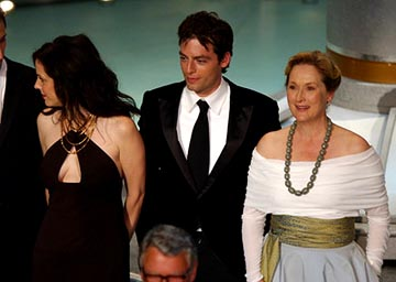 "Mary Louise Parker, Justin Kirk and Meryl Streep of ""Angels in America"" Outstanding Miniseries or Movie Emmy Awards - 9/19/2004"