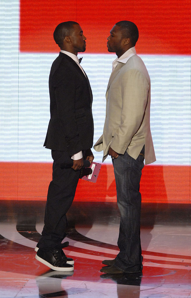 Rappers Kanye West and 50 Cent onstage at the 2007 Video Music Awards at the Palms Casino Resort.