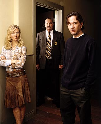 "Kari Matchett as Claudia, Randy Quaid as Sikorski and Timothy Hutton as J.T. Sci-Fi Network's ""Five Days to Midnight"""