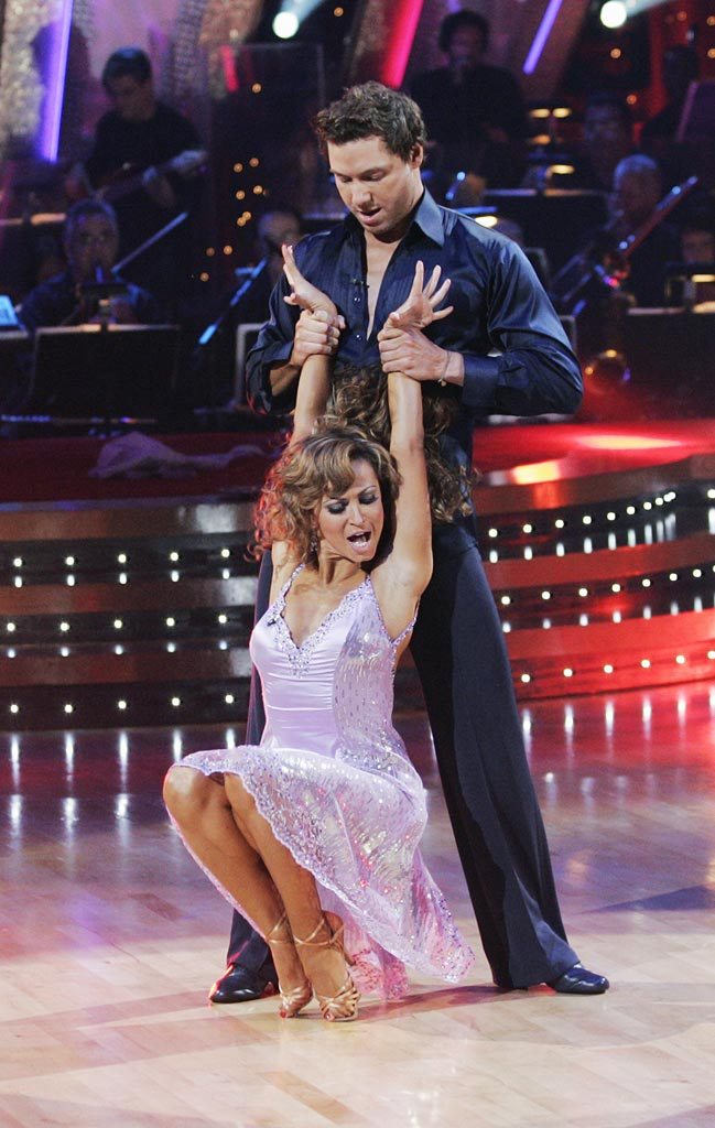 Karina Smirnoff and Rocco DiSpirito perform a dance on the seventh season of Dancing with the Stars.