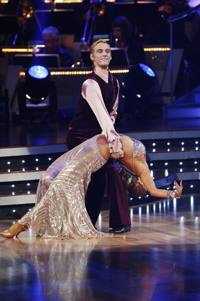 "Karina Smirnoff and Aaron Carter perform on ""Dancing with the Stars."""