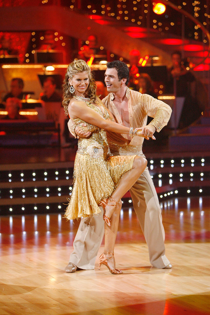 "Kathy Ireland and Tony Dovolani perform the Salsa to ""Mambo Gozon"" by Tito Puente on ""Dancing with the Stars."""