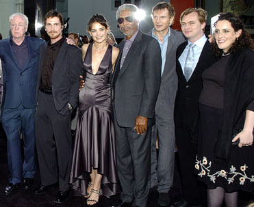 Premiere: Michael Caine, Christian Bale, Katie Holmes, Morgan Freeman, Liam Neeson, director Christopher Nolan and producer Emma Thomas/contrib>at the Hollywood premiere of Warner Bros. Pictures' Batman Begins - 6/6/2005