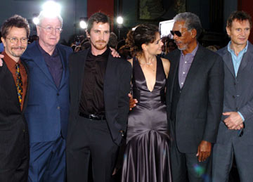 Premiere: Gary Oldman, Michael Caine, Christian Bale, Katie Holmes, Morgan Freeman and Liam Neeson at the Hollywood premiere of Warner Bros. Pictures' Batman Begins - 6/6/2005