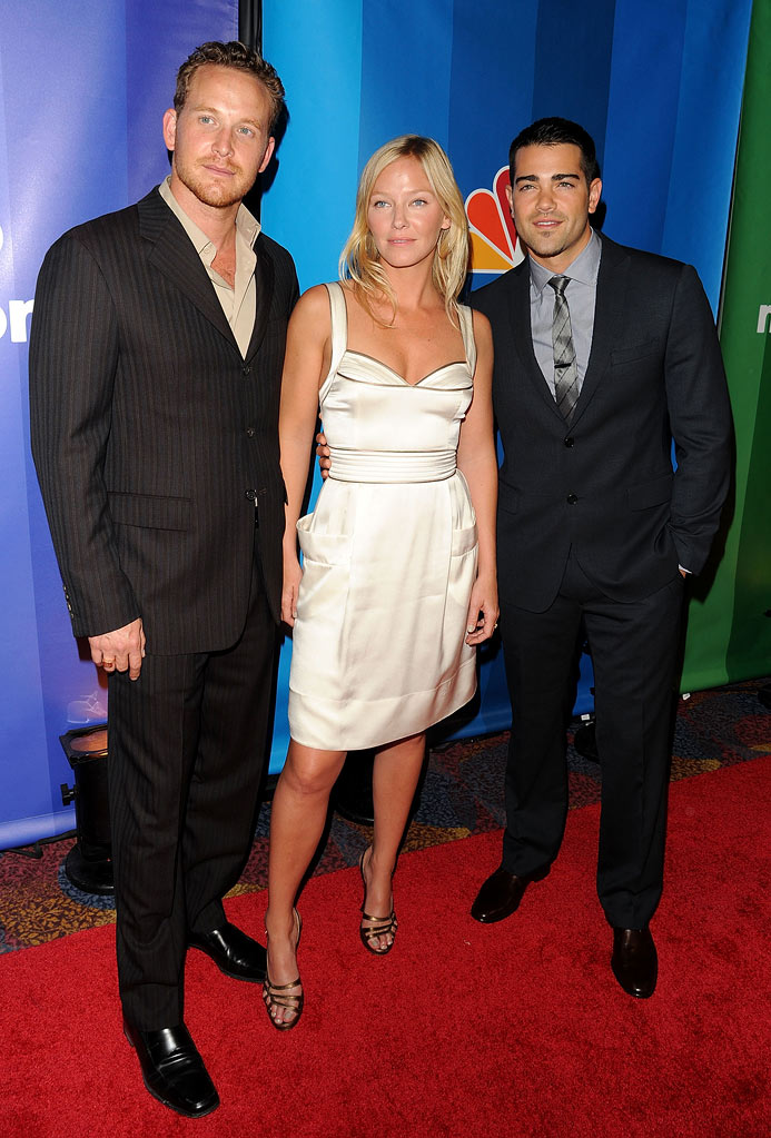 Cole Hauser, Kelli Giddish, and Jesse Metcalfe attend the 2010 NBC Upfront presentation at The Hilton Hotel on May 17, 2010 in New York City.