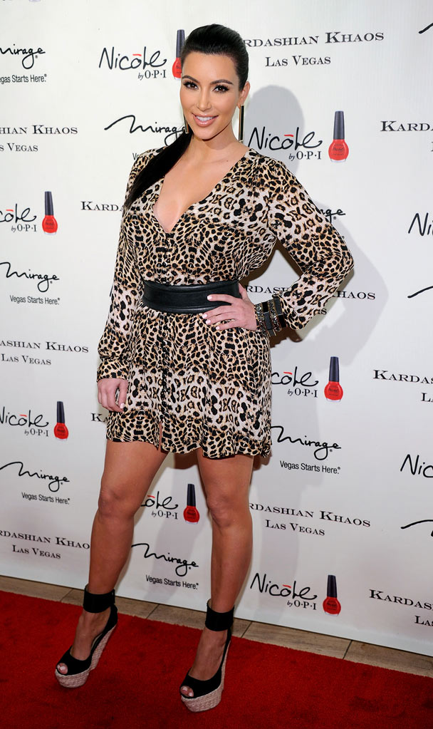 Kim Kardashian arrives at the grand opening of the Kardashian Khaos store at the Mirage Hotel & Casino on December 15, 2011 in Las Vegas, Nevada.