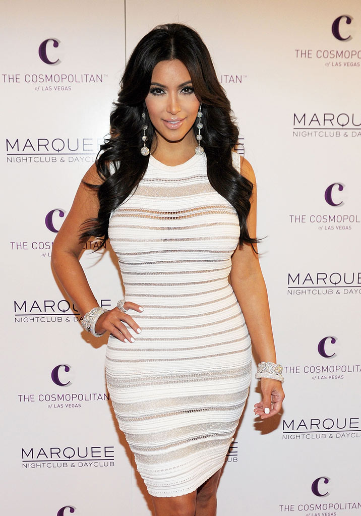 Kim Kardashian arrives at her birthday party at Marquee Nightclun at the Cosmopolitan in CityCenter on October 22, 2011 in Las Vegas, Nevada.
