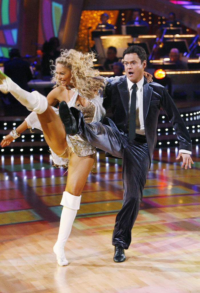 "Donny Osmond and Kym Johnson perform the Jive to ""Secret Agent Man"" by Johnny Rivers on ""Dancing with the Stars."""