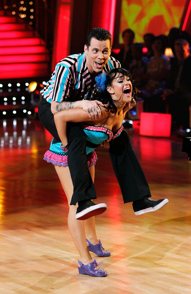 "Steve-O and Lacey Schwimmer perform the Lindy Hop to ""Dance Little Sister"" by The Rolling Stones on ""Dancing with the Stars."""