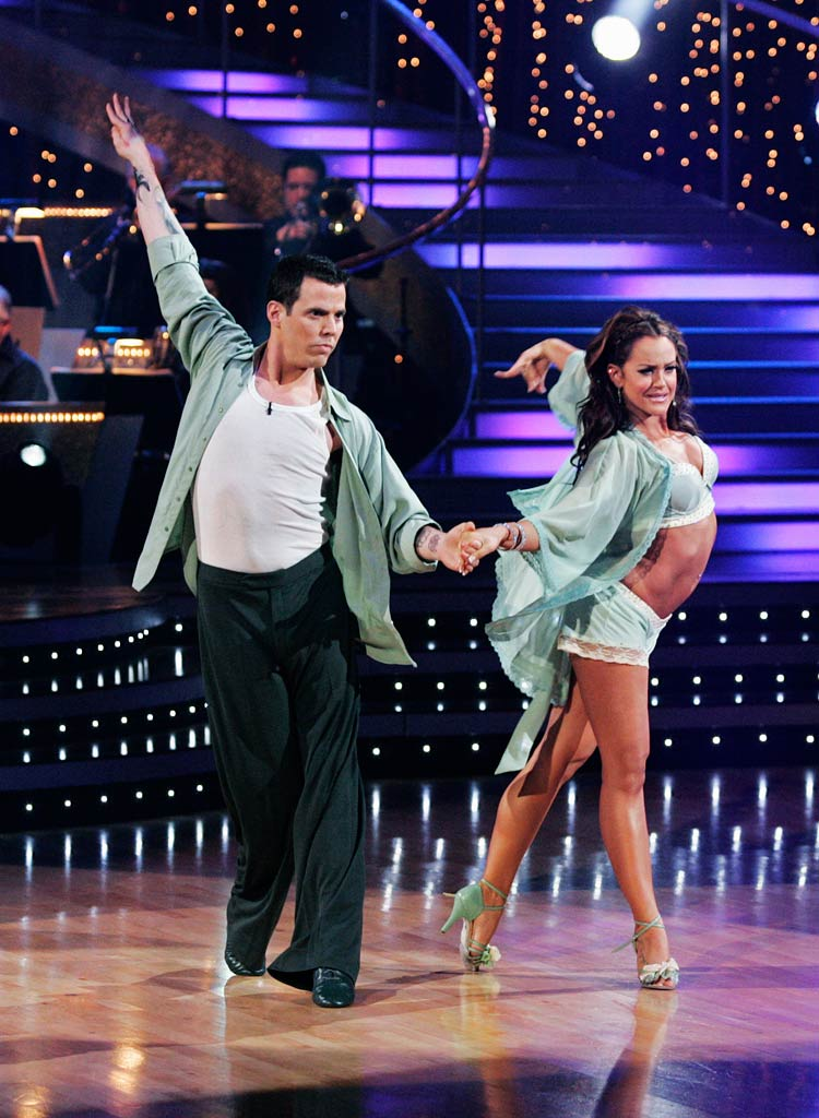 "Steve-O and Lacey Schwimmer perform the Rumba to ""Fall for You"" by Secondhand Serenade on ""Dancing with the Stars."""