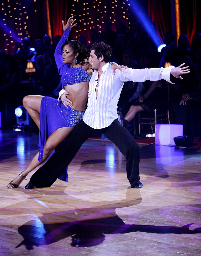 Laila Ali and professional dancer, Maksim Chmerkovskiy perform their fifth dance in the 4th season of Dancing with the Stars.