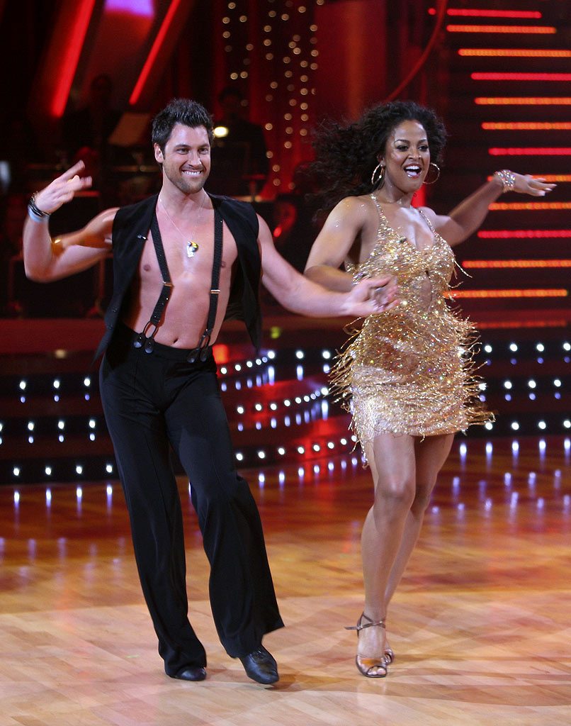 Laila Ali and professional dancer, Maksim Chmerkovskiy perform their sixth dance, the Cha Cha, in the 4th season of Dancing with the Stars.