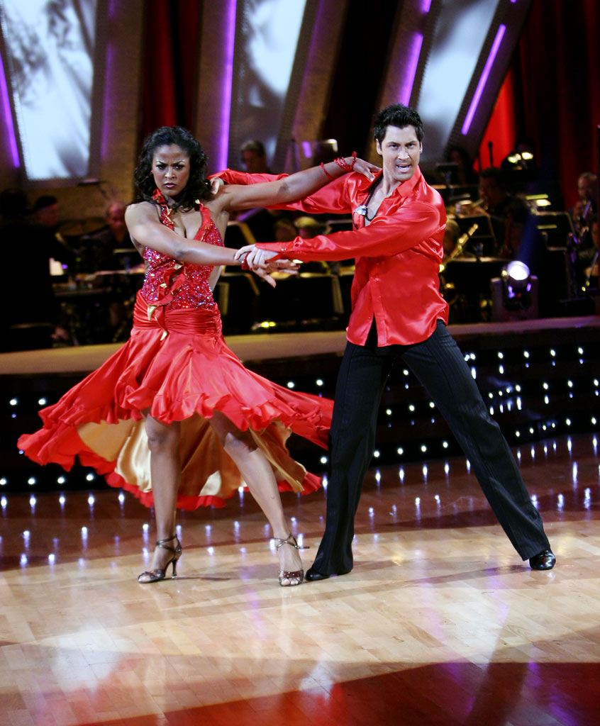 Laila Ali and professional dancer, Maksim Chmerkovskiy perform a latin dance in the 4th season of Dancing with the Stars.