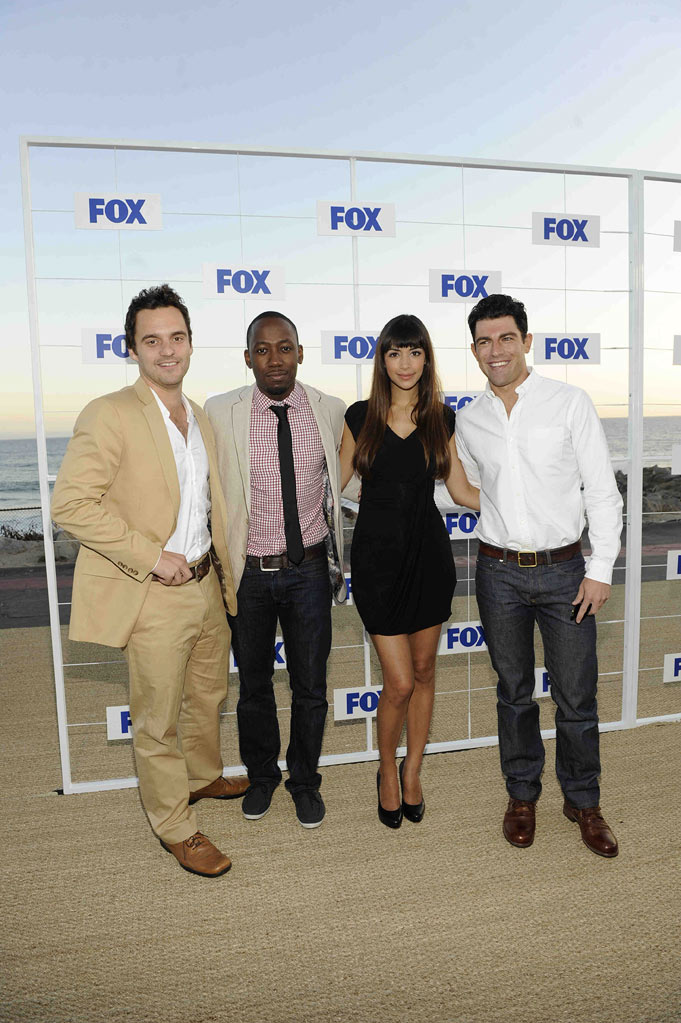 "Jake Johnson, Lamorne Morris, Hannah Simone and Max Greenfield of ""New Girl"" attend the 2011 FOX Summer TCA Party at Gladstone's in Malibu, CA on August 5, 2011."