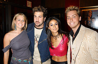Premiere: Meredith Edwards, Joey Fatone, Emmanuelle Chriqui and Lance Bass at the New York premiere of On The Line - 10/9/2001