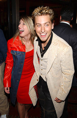 Premiere: Lance Bass and galpal at the New York premiere of On The Line - 10/9/2001