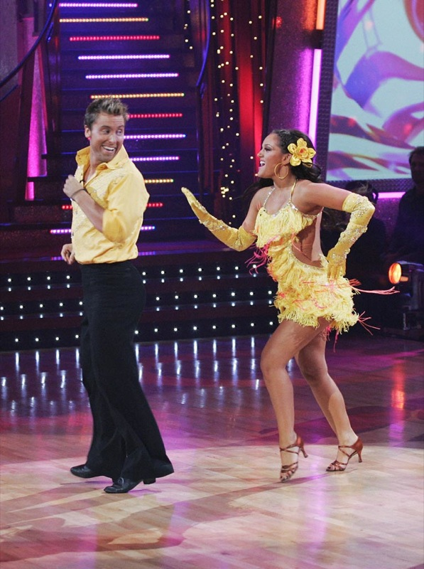 Lance Bass and Lacey Schwimmer perform a dance on the seventh season of Dancing with the Stars.