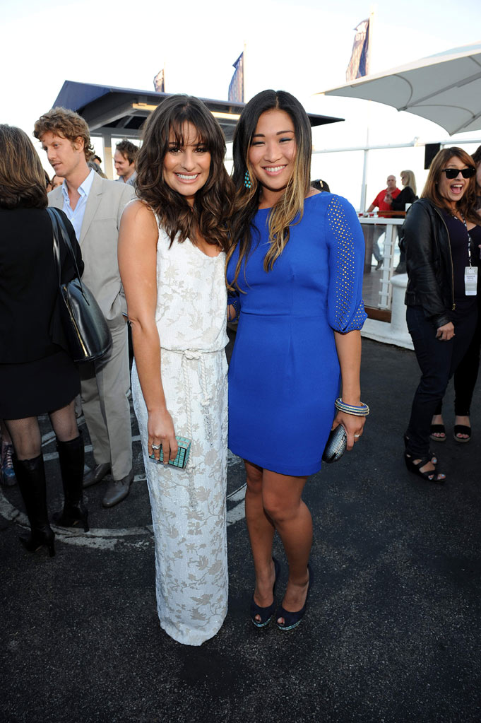 "Lea Michele and Jenna Ushkowitz of ""Glee"" attend the 2011 FOX Summer TCA Party at Gladstone's in Malibu, CA on August 5, 2011."